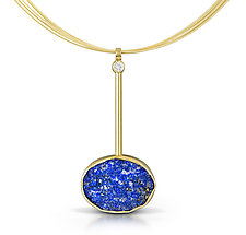 Oval Lapis MCM Pendant by Thea Izzi (Gold & Stone Necklace)