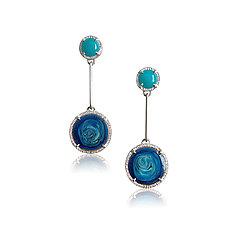 Sea and Swirl Earrings by Jenny Windler (Silver, Stone & Enamel Earrings)