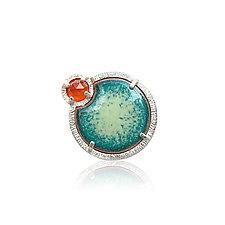 Eclipse Ring in Carnelian and Enamel by Jenny Windler (Silver, Stone & Enameled Ring)