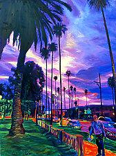 Deep City Sunset by Bonnie Lambert (Oil Painting)