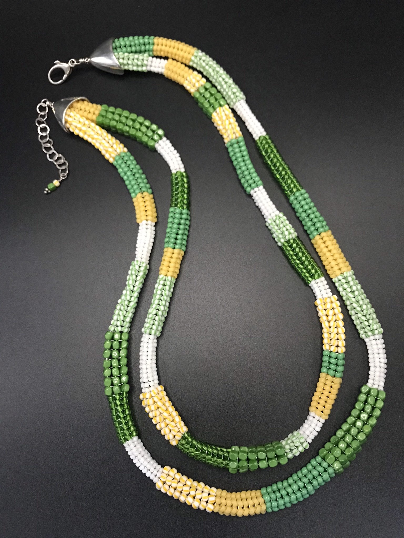 Green And White Herringbone Necklace By Sher Berman