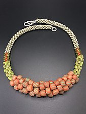 Orange Crochet Necklace by Sher Berman (Beaded Necklace)