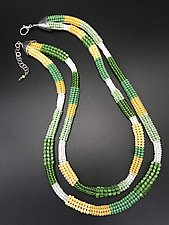 Green and White Herringbone Necklace by Sher Berman (Beaded Necklace)