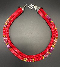 Red, Purple & Green Crochet Necklace by Sher Berman (Silver & Stone Necklace)