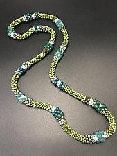 Green Indonesian Crochet Necklace by Sher Berman (Beaded Necklace)