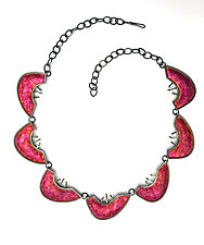 Love Fuchsia Necklace by Marcia Meyers (Gold, Silver & Enamel Necklace)