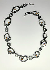 Sliced Green Peppers Necklace by Marcia Meyers (Silver & Stone Necklace)