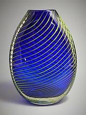 Flattened Optic Twist Vase in Blue by Juston Daniels (Art Glass Vase)