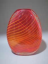 Red Flattened Optic Twist Vase with Orange Twist by Juston Daniels (Art Glass Vase)