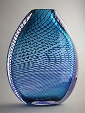 Flattened Optic Twist Vase in Teal by Juston Daniels (Art Glass Vase)