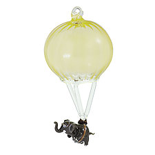 Parachuting Pachyderm by James and Andrea Stanford (Art Glass Ornament)