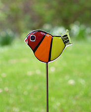 Rainbow Garden Birds by Terry Gomien (Art Glass Sculpture)