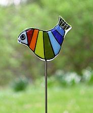 Rainbow Garden Birds by Terry Gomien (Art Glass Sculpture)