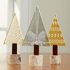 Shimmer Pine Trio by Terry Gomien (Art Glass Sculpture)