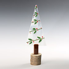 Holly Berry Tree by Terry Gomien (Art Glass Sculpture)