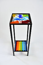 Rainbow Color Burst Table by Terry Gomien (Art Glass & Metal Side Table)