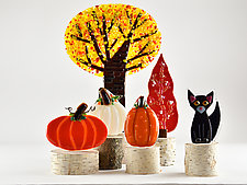 Fall Whimsical Woodland by Terry Gomien (Art Glass Sculpture)