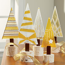 Golden Shimmer Trees by Terry Gomien (Art Glass Sculpture)