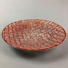 Engraved Cat Claw Bowl in Red by Andrew Stenerson (Art Glass Bowl)