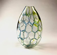 Hex Multi-Colored Vessel by Andrew Stenerson (Art Glass Vessel)