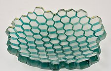 Aqua Green Hive Tray by Andrew Stenerson (Art Glass Tray)