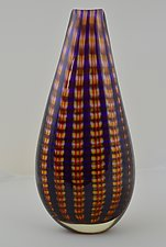 Tall Purple and Red Plaid Vase by Andrew Stenerson (Glass Vessel)