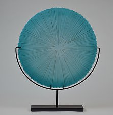 Aqua Blue Sawtooth by Andrew Stenerson (Art Glass Sculpture)