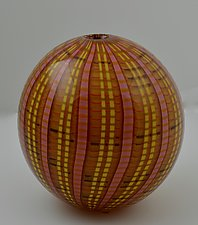 Plaid Blown Vessel in Red and Amber by Andrew Stenerson (Art Glass Vessel)
