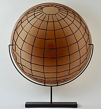 Amber Orb in Grid by Andrew Stenerson (Art Glass Sculpture)