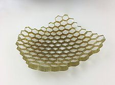 Smoke Green Hive Platter by Andrew Stenerson (Art Glass Platter)