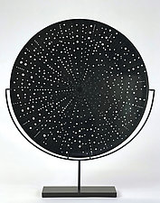 Black Galaxy Disk by Andrew Stenerson (Art Glass Sculpture)