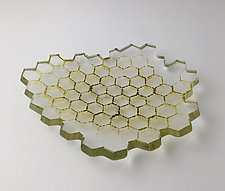 Small Clear and Green Hex Bowl by Andrew Stenerson (Art Glass Bowl)