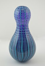 Purple and Blue Plaid Peanut Vase by Andrew Stenerson (Glass Vessel)