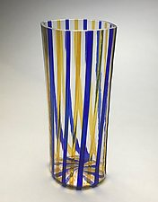 Gold and Blue Striped Vessel by Andrew Stenerson (Art Glass Vessel)