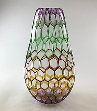 Tall Multicolor Vessel by Andrew Stenerson (Art Glass Vessel)