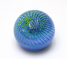 Blue Rattler Paperweight by April Wagner (Art Glass Paperweight)