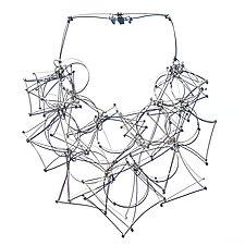 Shape Bib Necklace by Meghan Patrice  Riley (Silver & Steel Necklace)