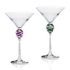 Planet Martini Glass by Minh Martin (Art Glass Drinkware)