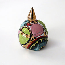 Small Whimsical Multicolor High Fire Ceramic Box by Michal Golan (Ceramic Sculpture)