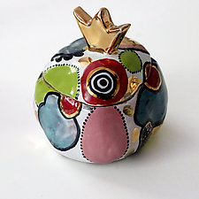 Whimsical Multicolor High Fire Ceramic Crown Box by Michal Golan (Ceramic Box)