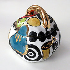 Whimsical Multicolor High Fire Ceramic Box by Michal Golan (Ceramic Box)