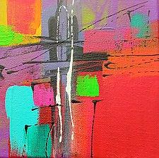 A Splash of Red Modernism 3 by Nicholas Foschi (Acrylic & Pastel Painting)