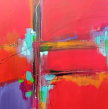 A Touch of Red Modernism 1 by Nicholas Foschi (Acrylic & Pastel Painting)