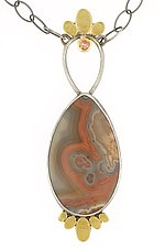 Lotus Kentucky Agate & Peach Sapphire Statement Necklace by Renee Ford (Gold, Silver & Stone Necklace)