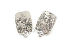 Sterling Silver Rectangle Lichen Texture Moissanite Earrings by Renee Ford (Silver Earrings)