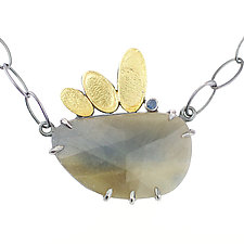 Lotus Petal Water Sapphire Necklace by Renee Ford (Gold, Silver & Stone Necklace)