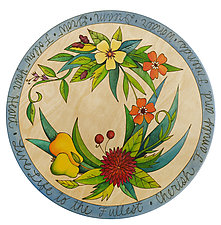 Floral Wreath Lazy Susan by Sticks (Wood Serving Piece)
