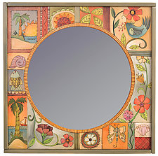 Seaside Florals by Sticks (Wood Mirror)