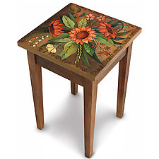 Smell the Flowers End Table by Sticks  (Wood Side Table)