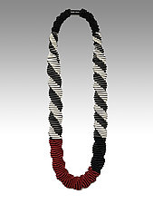Mondrian Red Necklace by Sophia Hu (Polyester & Stainless Steel Necklace)
